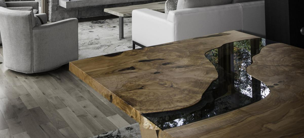 Эксклюзивные столы Live Edge из эпоксидной смолы.