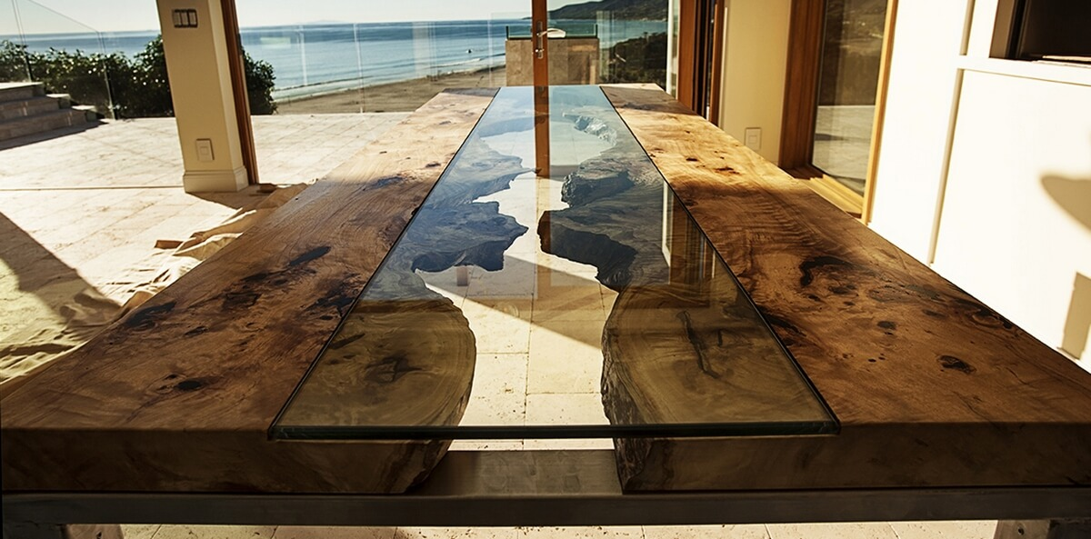 столы река Live Edge со стеклом